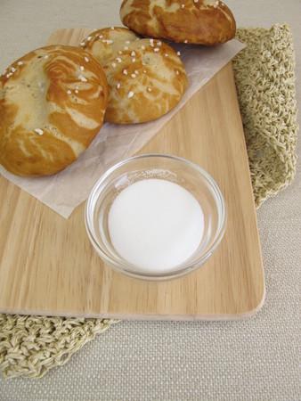 lye: Homemade lye rolls and baking soda for lye solution