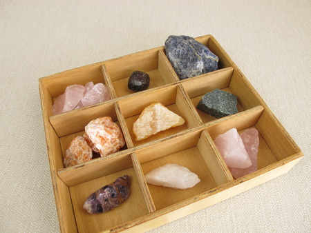 revitalization: Healing crystals in wooden box Stock Photo