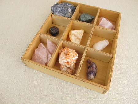 sodalite: Healing crystals in wooden box Stock Photo