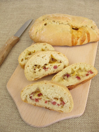 filled roll: Pizza roll with cheese and ham