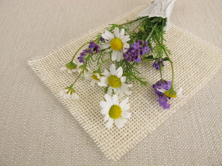 chamomile flower: Small flower bouquet with chamomile and lavender