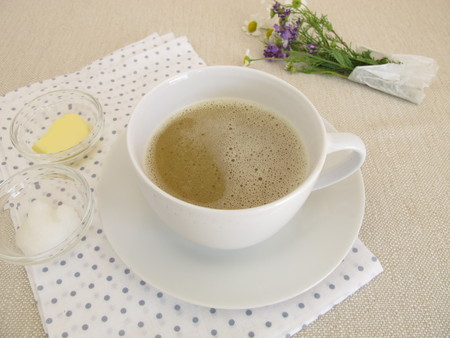 Butter coffe with butter and coconut oil Stock Photo