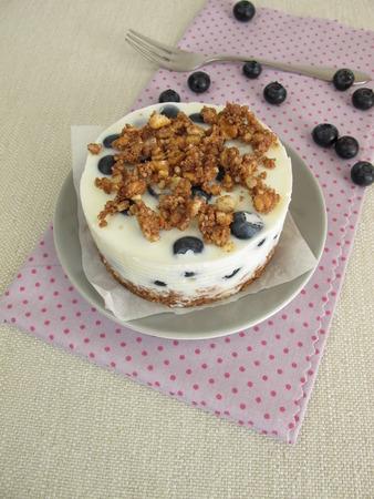 Graham: No bake blueberry pie with graham cracker crust, yogurt and crumbles