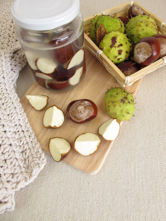 laundry detergent: Homemade laundry detergent from chestnuts Stock Photo