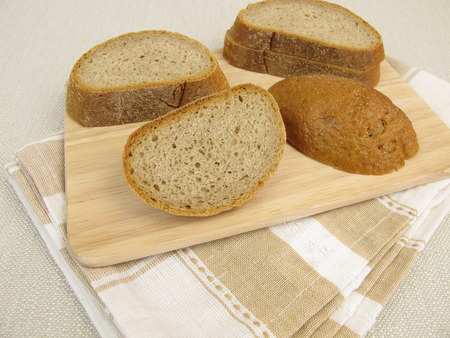 Crust of bread or bread edges from rye brad Stock Photo