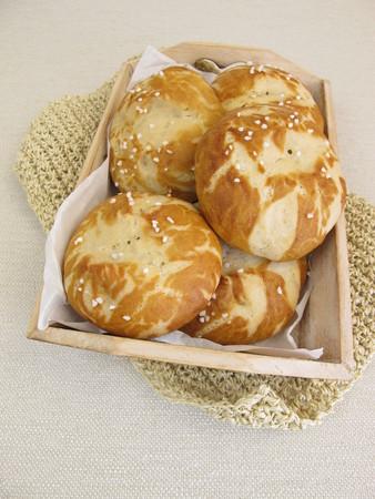 lye: Homemade lye rolls on small tray