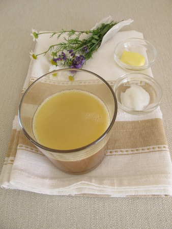 Morning coffee drink blended with butter and coconut oil