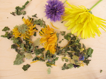 Herbal tea mix with marigold and cornflower