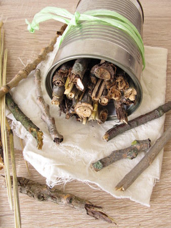 Homemade insect hotel from tin cans, twigs and straw Standard-Bild