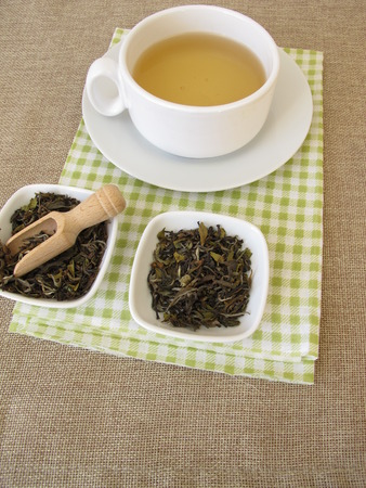 Cup of white tea Darjeeling from North India Stock Photo