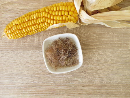 Dried and sliced ??corn silk, maydis stigma Imagens - 100126589