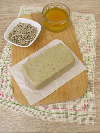 Homemade halva made from sunflower seeds and honey