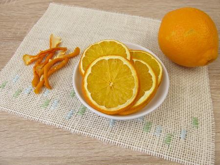 Dried sweet orange slices and peels