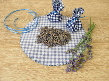 Making lavender bags with dried lavender flowers