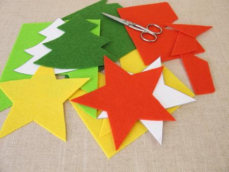 Christmas crafts with felt Archivio Fotografico
