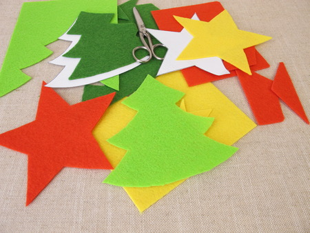 Christmas crafts with felt 写真素材