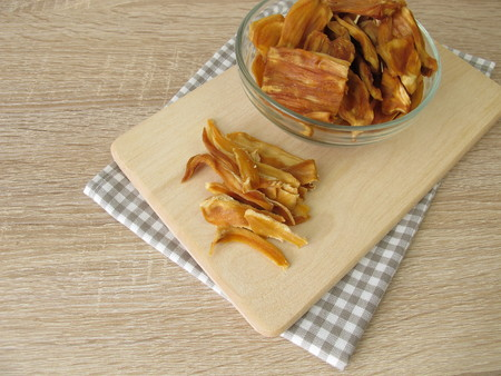 Dried jackfruit on cutting board Banco de Imagens