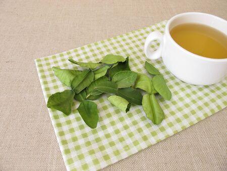 Tea with dried kaffir lime leaves