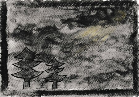 Hand painted watercolor, nocturnal atmosphere in black and gray with trees and moonlight