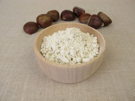Gluten free sweet chestnut flour made from marron used to make bread, cakes, and pastry