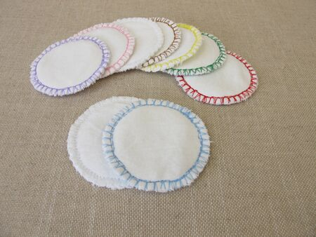 Handsewn, reusable, washable cotton cosmetic pads - makeup removal pads for facial cleansing Reklamní fotografie