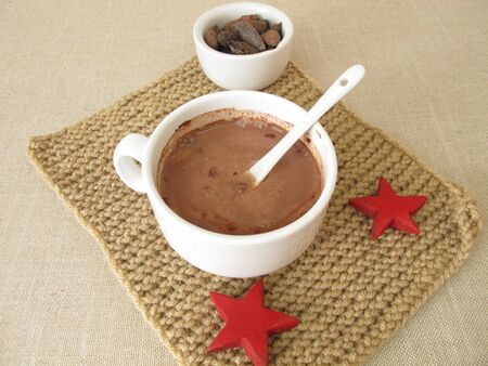 Roasted cocoa beans and hot chocolate without emulsifiers Reklamní fotografie