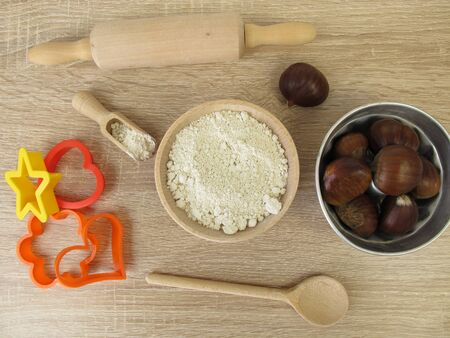Baking with sweet chestnut flour, marrons