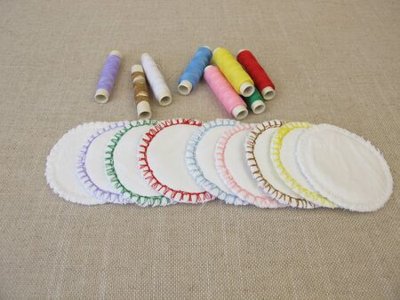 Handsewn, colorful, reusable, washable cotton cosmetic pads