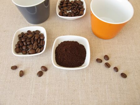 Roasted arabian coffee and ground beans Stock Photo