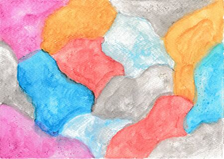 Colorful watercolor painting, painted with watercolor pencils and blended with water Stock fotó