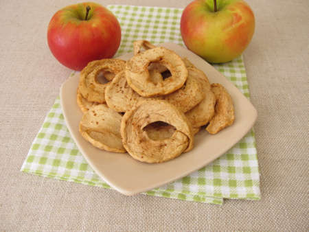 Dried fruits from homemade dried apple rings Archivio Fotografico