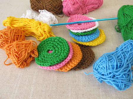 Crocheted, reusable, washable cosmetic pads made of wool - make-up removal pads for facial cleansing