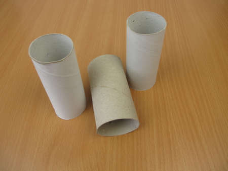 Empty cardboard tubes from toilet paper, paper rolls from toilet tissue