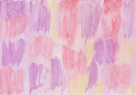 Brush strokes with watercolor paints in red, purple and pink Archivio Fotografico