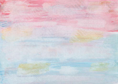Hand painted watercolor background painting in pink, red, blue and ocher with paper print Archivio Fotografico