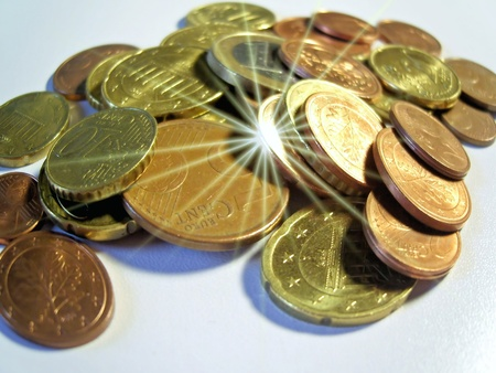 spent: coins Stock Photo