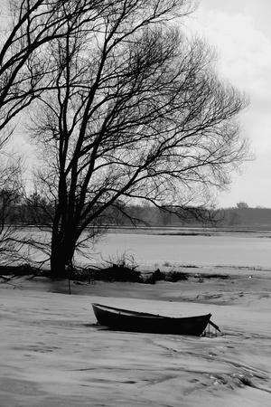 punt: winter landscape Stock Photo