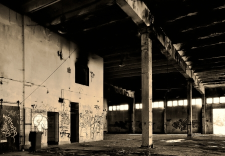 terminated: old abandoned empty factory in Magdeburg Editorial