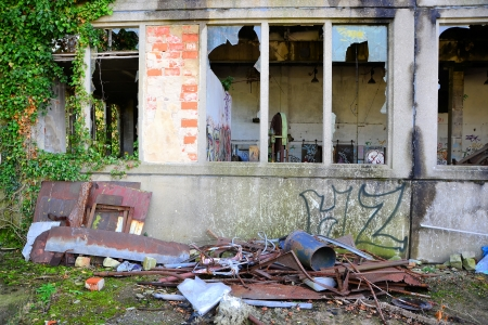 company premises: Garbage and rubbish on a disused company site