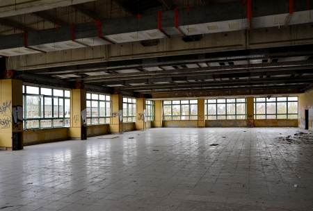 former dining room in a disused factory
