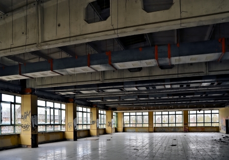 company premises: former dining room in a disused factory Editorial