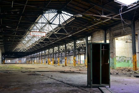 abandoned factory building and an old Cupboard Editorial