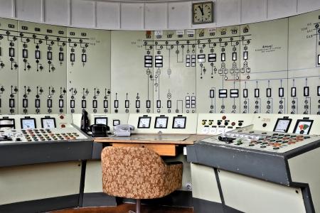 panel de control: Centro de control en una miner?a cielo abierto en desuso