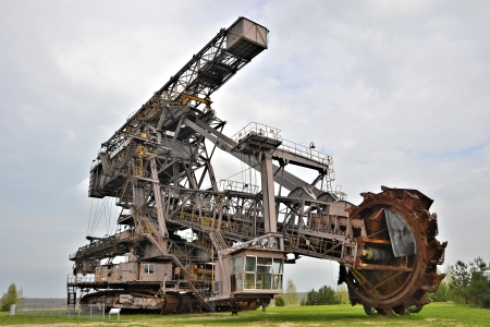 Coal excavator in an open pit mining
