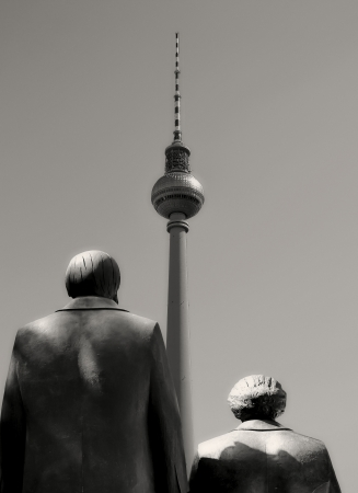 Karl Marx, Friedrich Engels and the television tower in Berlin
