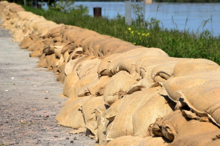 Sandbags during floods in Germany 2013 photo
