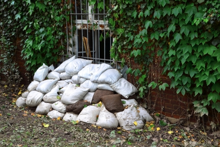 filled sandbags to protect from flooding in Magdeburg photo