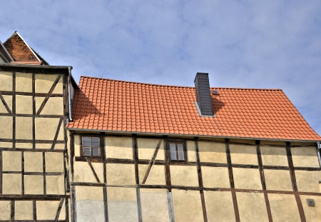 an old historic half-timbered house photo