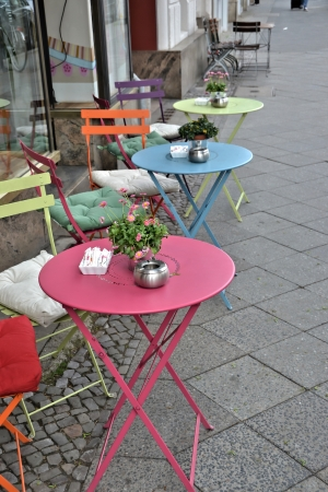 doldrums: a small cafe a street in Berlin Editorial