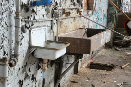 Washbasins in a disused factory Stock Photo - 20888644